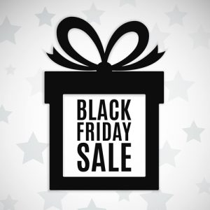 Black friday sale background. Gift icon. Vector illustration